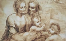 "Selivanov V. / Copy from cardboard of Leonardo da Vinci ""St. Anna with Mary and the Infant Christ"" / sepia / 1995"