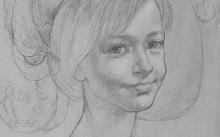 Анфилова Е. / Рисунок к живописному портрету / графит / 1998