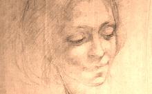 Анфилова Е. / Ирина Глик. Набросок / сангина / 1994