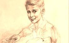 Анфилова Е. / Картон к портрету мальчика с собакой / сангина / 2010