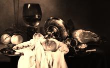 "Анфилова Е. / Копия с картины Виллема Клас Хеда ""Натюрморт"" / холст / масло / 1995"